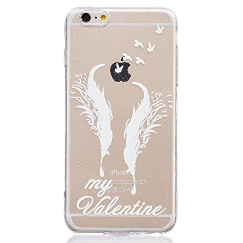 "Coque iPhone 6 Plus / 6S Plus, IJIA Ultra-mince Transparent Plume Blanc TPU Doux Silicone Bumper Case Cover Shell Housse Etui pour Apple iPhone 6 Plus / 6S Plus 5.5"" + 24K Or Autocollant"