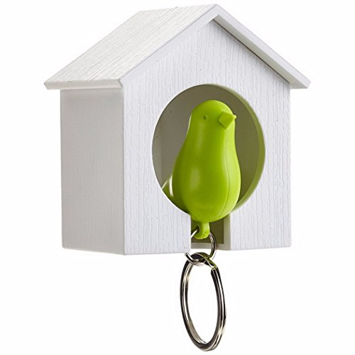Bird Nest Key Holder White House with Green Bird Key Ring Whistle Key Hanger Rack (Green, White House) (White)