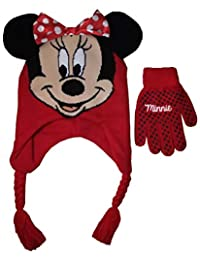 Disney Girl's Minnie Mouse Hat and Gloves Winter Set, Red