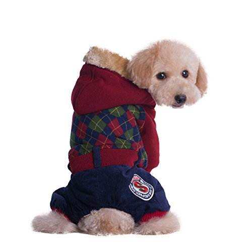 [Cool Puppy Plaid Sweaters for Small Large Dogs Four Sleeves Warm Cold Weather Coat Buttons Dog Outerwear Jumpsuit Costume] (Pomeranian Costume)