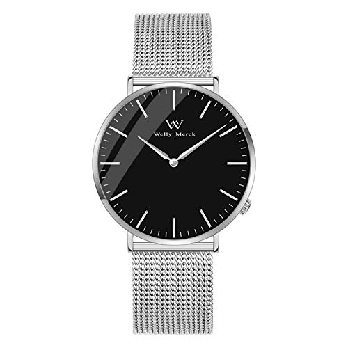 Welly Merck Swiss Movement Sapphire Crystal Women Luxury Watch Minimalist Ultra Thin Slim Analog Wrist Watch 18mm Silver Stainless Steel Mesh Band in Black 36mm 164ft Water Resistant