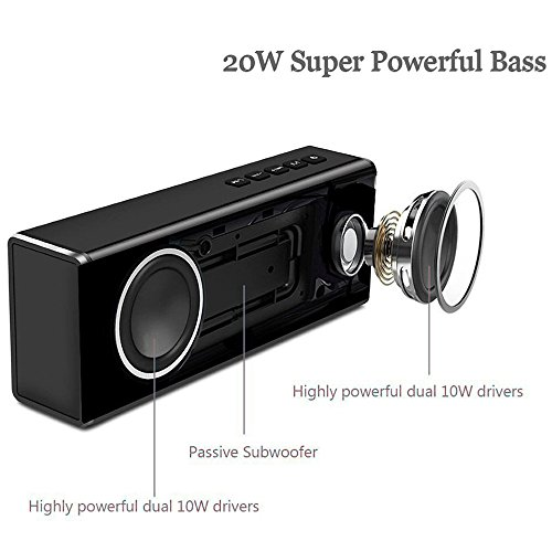 20w Handsfree Wireless Speaker - Portable Outdoor Bluetooth Speaker Super Bass - Power Stereo Sound USB Rechargeable Speaker Built-in Mic, Best for Home, Beach, Party, Travel by CHEE MONG (Image #2)