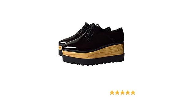 ZQ hug Zapatos de mujer-Plataforma-Creepers / Punta Redonda / Punta Cerrada-Sneakers a la Moda-Casual-Semicuero-Negro , black-us7.5 / eu38 / uk5.5 / cn38 , black-us7.5 / eu38 / uk5.5 / cn38