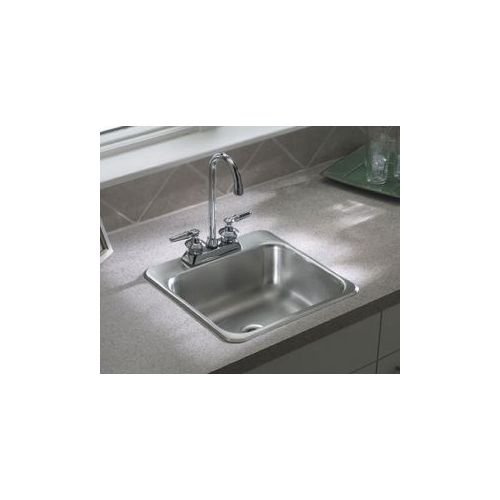 15'' x 15'' 2-Hole Self Rimming Single Bowl Entertainment Kitchen Sink