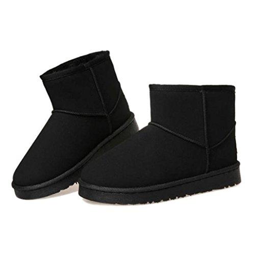 Stivali Invernali Da Donna, Egmy Moda Flat Lace Up Foderato Di Pelliccia Inverno Martin Stivali Neve Stivaletti Scarpe Nere