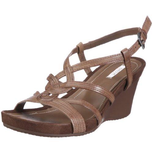 Geox Textil Donna Roxy S D1196F00043C6000 - Sandalias de vestir de cuero para mujer Marrón