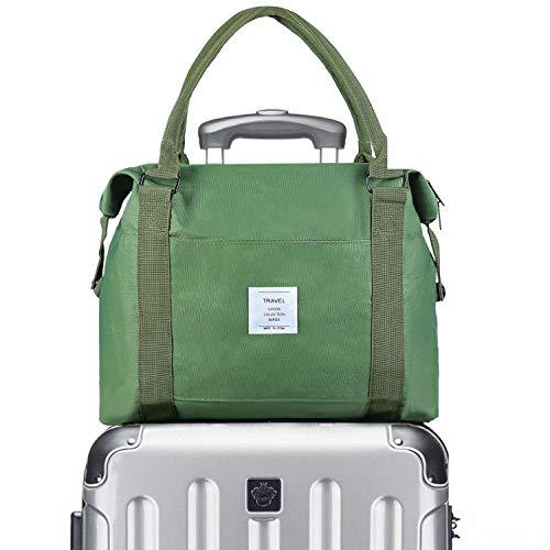 Bag Travel Trolley - VCEC Travel bag Travel Duffle Bag Lightweight Waterproof,Women Ladies Man Canvas Weekender Bag Overnight Carry-on Tote Duffel in Trolley Handle (Green)