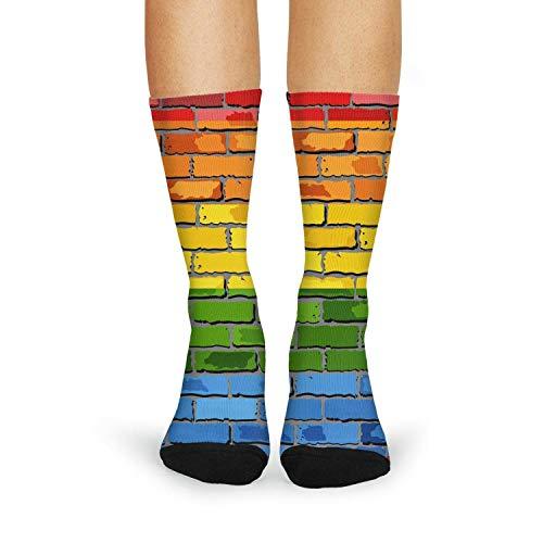 (Gay pride flag brick wall Rainbow Girls Carpet Socks Moisture Wicking Novelty)