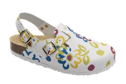 Fersenriemen Con M Mujer weiß De Hebilla Zapatos Para Wörishofer Clog Multicolor 41610 Cuero wgXxRFq