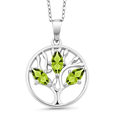0.75 Ct Marquise Green Peridot 925 Sterling Silver Tree of Life Pendant With Chain
