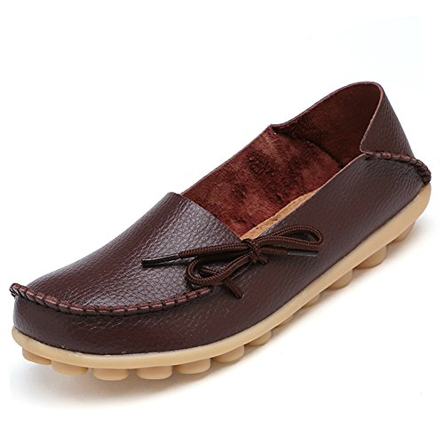 CIOR+Women%27s+Genuine+Leather+Loafers+Casual+Moccasin+Driving+Shoes+Indoor+Flat+Slip-on+Slippers%2CM911%2CBrown%2C42