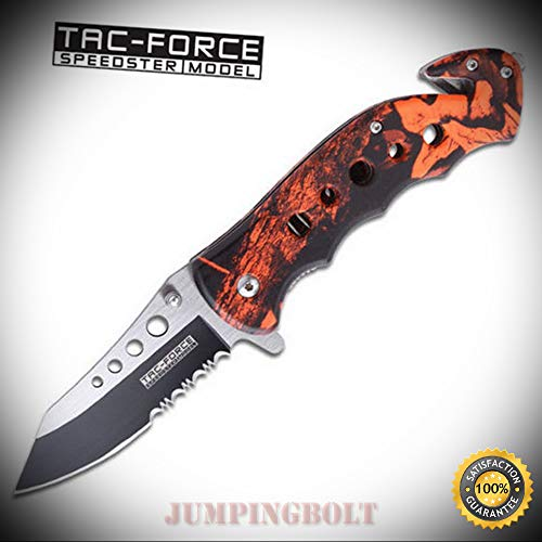 ng RED CAMO Glass Breaker Rescue Sharp Knife Brand - Premium Quality Hunting Very Sharp EMT EDC ()