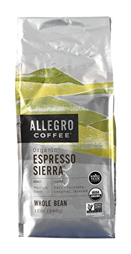 Allegro Whole Bean Coffee  2 12Oz Bags  Organic Espresso Sierra