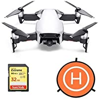 DJI MAVIC Air Flame Arctic White - Bundle With 32GB SDHC U3 Card, 75cm Protective Fast-fold Drone Landing Pad