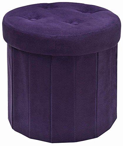 Round Suede Storage Ottoman (The FHE Group Round Folding Storage Ottoman, 15 by 15 by 15-Inch, Purple Suede)