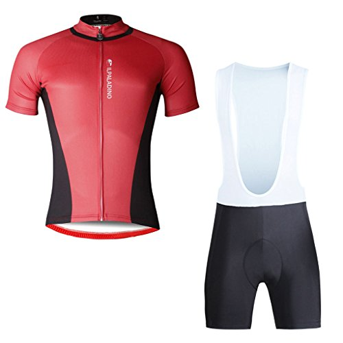 Paladinsport Red Men's Short Sleeve Polyester Bicycle Clothing And Bib Shorts Set Size - Liv Clothing Brand