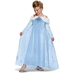 Elsa Frozen Adventure Dress Deluxe Costume, Multicolor, Small (4-6X)