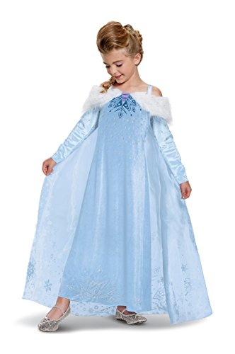 Elsa Frozen Adventure Dress Deluxe Costume, Multicolor, Small (4-6X)