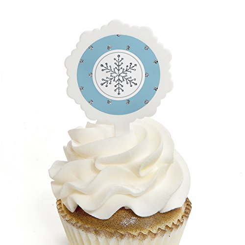 Winter Wonderland - Cupcake Picks with Stickers - Snowflake Holiday Party & Winter Wedding Cupcake Toppers - 12 Count (Wedding Wonderland Cakes Winter)