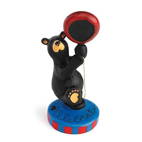 DEMDACO Celebration Bear Mini Black Bear 6 x 3 Hand-cast Resin Figurine Sculpture