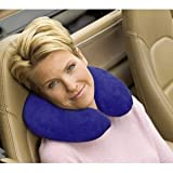Deluxe Comfort Memory Foam UFO Travel Pillow - Therapeutic Memory Foam - Removable Easy Care Machine Washable Pillow Cover - Travel Neck Tension And Stress Relief - Travel Pillow, Blue