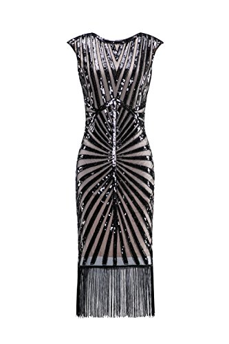 Metme Women's 1920s Classic Long Beaded Cocktail Party Dress Fringe Embellished for Cocktail Gatsby Party -
