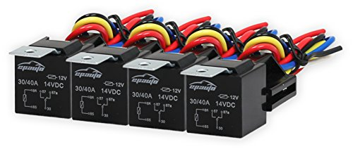 4 Pack - EPAuto 30/40 AMP Relay Harness Spdt 12V Bosch - Horn Connector Relay