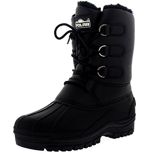 Womens Hiking Duck Winter Walking Mid Calf Muck Thermal Quilted Boots - Black Leather - US8/EU39 - YC0337 (Winter Quilted Boots)
