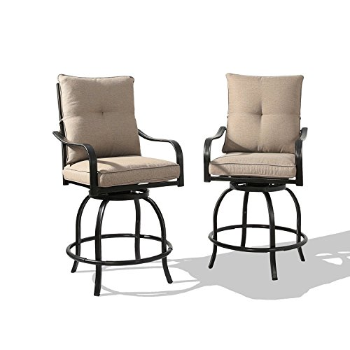 Rimba Outdoor Swivel Patio Bar Stools Chairs with Beige Cushions (Set of 2)