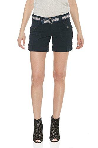 Belted Belt Poplin - Suko Jeans Womens Convertible Stretch Poplin Bermuda Shorts 47050 Navy 12