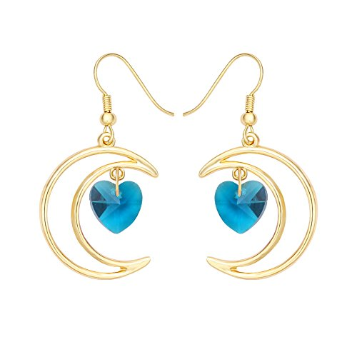 t Half Moon Love Crystal Heart 1 Pair Hook Dangle Earrings 4 Color tone Gold(Blue) (Crescent Colours)