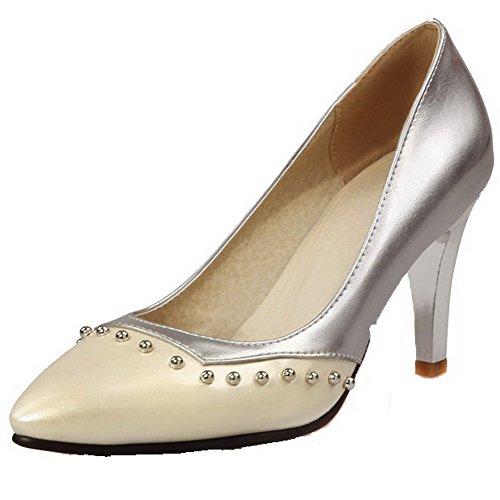 VogueZone009 Damen Hoher Absatz Weiches Material Eingelegt Spitz Zehe Pumps Schuhe Cremefarben