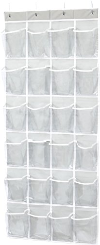 Simple Houseware 24 Pockets Large Clear Pockets Over The Door Hanging Shoe Organizer, Gray (60