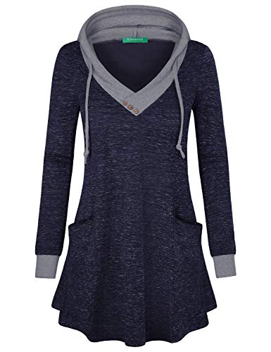 - Kimmery V Neck Sweatshirt Women, Tunic Tops for Leggings for Ladies Comfy Curved Hem Basic Pullover T Shirt Color Block Thin Tunics Top with Pockets Beach Clothes Blue Medium