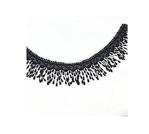 Gouerping Sewing Crafts Embroidered Tassle Fringe Trim -Black 3 Yards