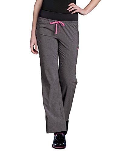 (Smitten Women's Rib Knit Waistband Scrub Pant Xx-Large Petite Heather Grey)