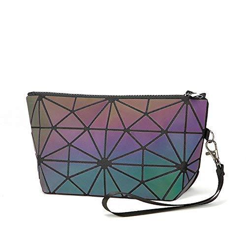 a373aaefb Galleon - Luminous Handbag Lattice Design Geometric Bag Unique Purses Soft  PU Leather Wristlet Clutch Crossbody Bag With Chain Strap Cell Phone Purse