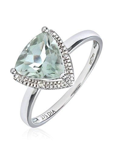 Revoni - Bague en or blanc 9 carats, améthyste verte taille triangulaire et diamants