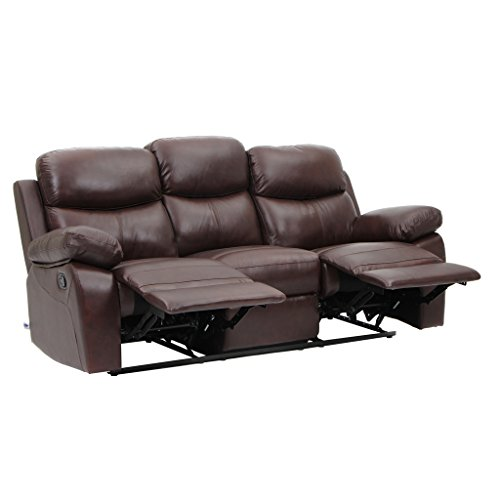 Cheap VH FURNITURE Top Grain Leather Sofa Recliner 3 Seats Simple Design in Brown