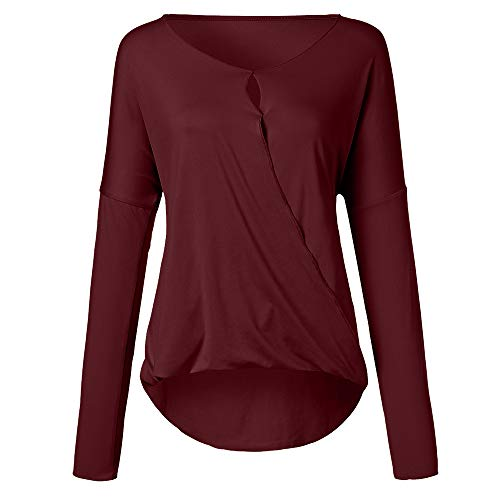 Longues Dentelle Causal Tops Shirts Uni Tees Blouse Femme Manche Chemisier Amples Ladies Rouge Sexy Grande Taille Chic Col V SPqdq