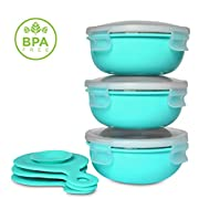 Baby and Toddler Feeding Bowls with Heavy Duty 18/8 Stainless Steel, Stay Put Suction, and Spill-Proof Lid by TOTWARE (Aqua, 3 Bowls) | 12+ months to young children | Eco-Friendly, BPA Free, Non Toxic