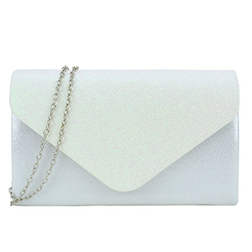 Evening Bag Envelope Clutch Frosted Glitter Sequin Flap Party Purse Womens Handbag Ivory Iw7qaUIZ