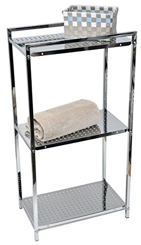 3 Tier Storage Tower - EVIDECO Metal Square Tube Storage Floor Cabinet Tower 3-Tier Chrome