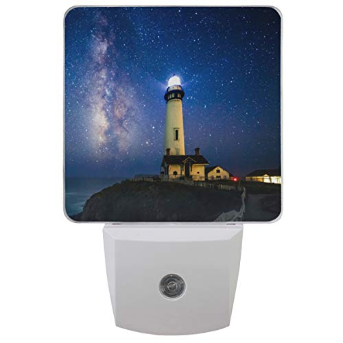 Pfrewn Summer Lighthouse Ocean Dove Led Night Light Plug in Set of 2 for Bedroom Bathroom Kitchen Hallway, Tropical Floral Nightlights Auto Senor Dusk to Dawn for Kids Adults Indoor ()