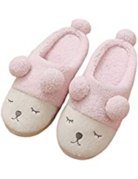 Womens Slippers Winter Warm Slippers Short Plush Cozy Home Slippers Sheep Animal Non-Slip Indoor Shoes