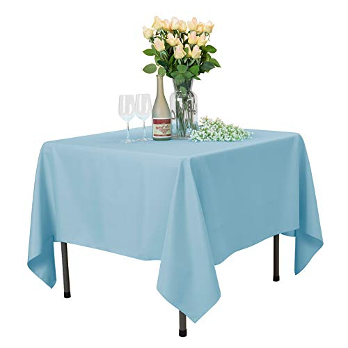 VEEYOO Square Tablecloth 100% Polyester Table Cloth for Indoor and Outdoor Table - Solid Dinner Tablecloth for Wedding Party Restaurant Coffee Shop (Baby Blue, 70x70)