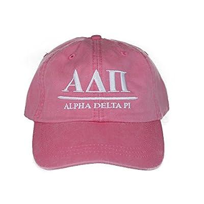 Alpha Delta Pi (B) Hot Pink with White Thread Sorority Baseball Hat Cap Greek Letter Sports Cap Adjustable Strap ADPi
