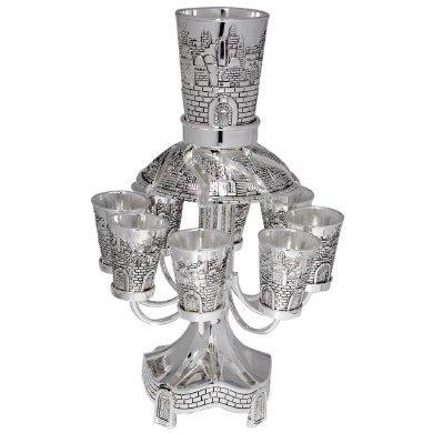Jerusalem 9 cup Pewter Kiddush Wine Fountain Centerpiece (Fountain Kiddush Jerusalem)