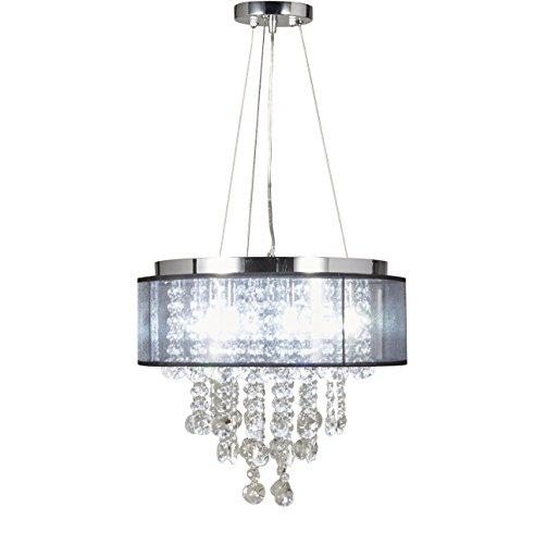 Chrome Ceiling Black Light (Diamond Life Chrome Finish Translucent Black Shade 5-light Crystal Chandelier Pendant Hanging Ceiling Lamp)