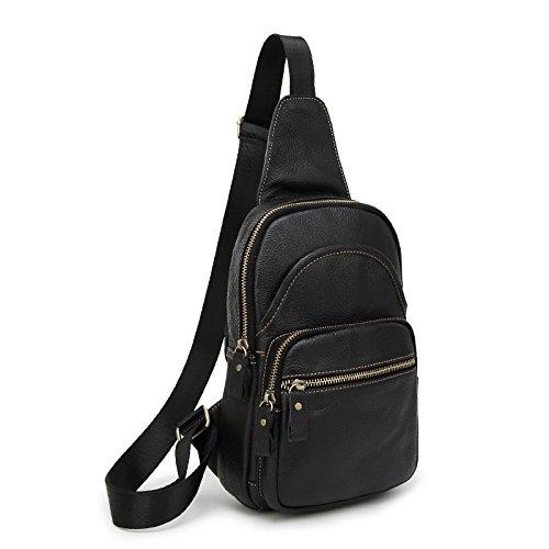 mefly–Bolso bandolera de piel Retro el saco los hombres y las mujeres bolsa Retro, negro negro